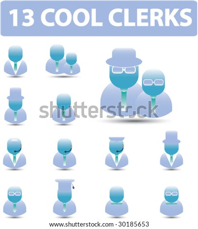 13 cool clerks - vector. see more in my portfolio - stock vector