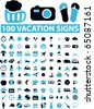 100 cool vacation signs. vector - stock vector