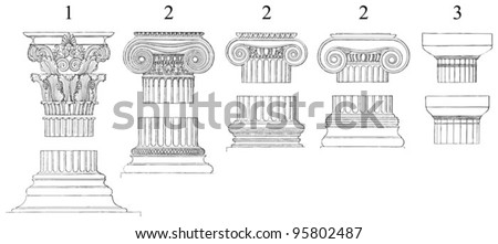 1. Corinthian  2. Ionic  3. Doric columns / vintage illustration from Meyers Konversations-Lexikon 1897 - stock vector