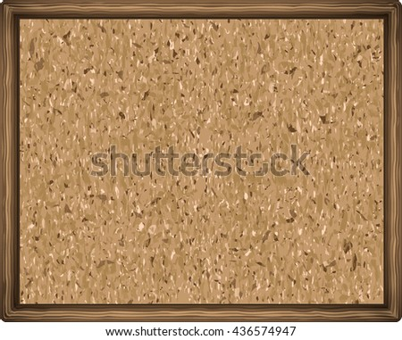 cork board texture in a wooden frame. close up. vector illustration - stock vector