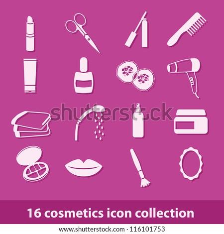 16 cosmetics icon collection - stock vector