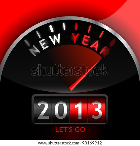 2013 counter on the dashboard - stock vector