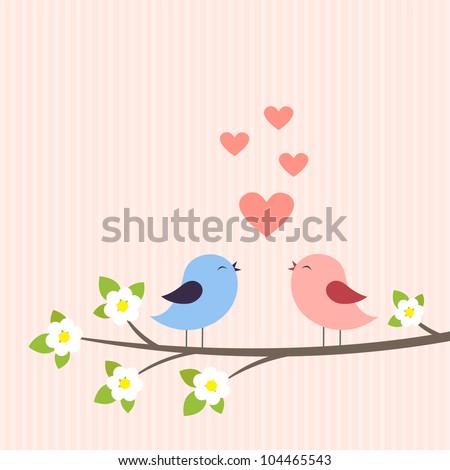 Couple of birds in love. Vector illustration - stock vector