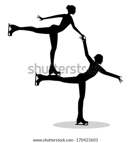 couple of skaters on ice - stock vector