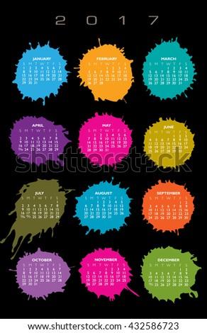 2017 Creative colorful splatter calendar for print or web  - stock vector