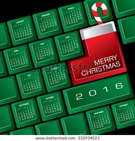 2016 Creative Keyboard Christmas Calendar - stock vector