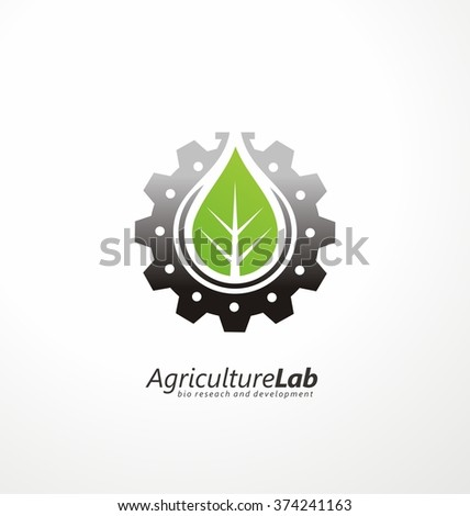 Creative symbol concept with gear, green leaf and subtly shape of lab flask in negative space. Modern agricultural technology logo design template. Icon idea for farming and food production theme. - stock vector