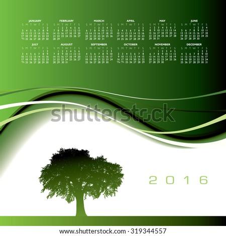2016 Creative tree calendar for print or web - stock vector