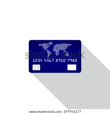 Credit card icon isolated on white background with shadow. Vector illustration. Eps10 - stock vector