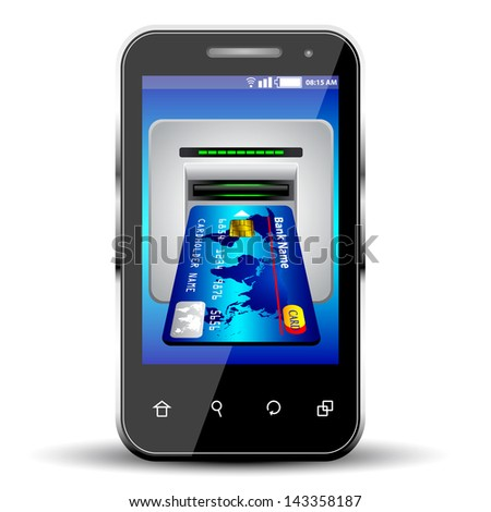 credit card with smartphone on white background. - stock vector