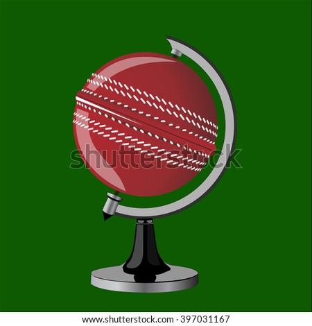 Cricket ball. Cricket ball as a globe. Cricket ball on stand.  - stock vector