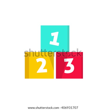 123 cubes vector illustration, building blocks with numbers, logo design element, concept of children game symbol, education, isolated on white background - stock vector
