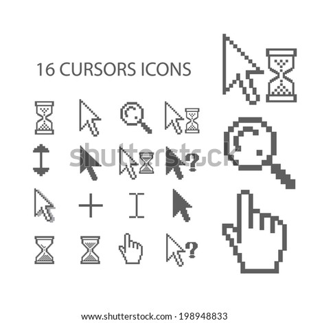 16 cursors, mouse, hand, arrow, click icons, signs set, vector - stock vector