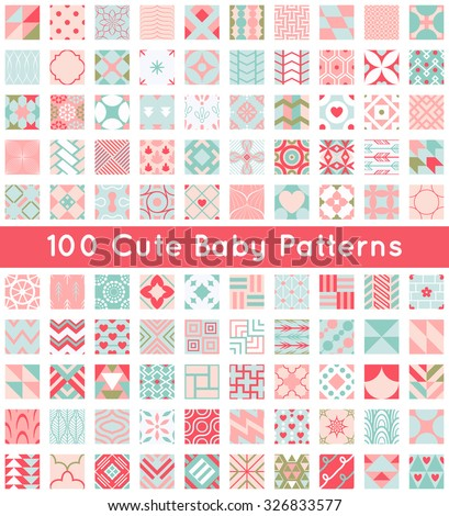 100 Cute baby seamless pattern. Retro pink, white and blue colors. Texture for wallpaper, web page background, fabric and paper. Set of abstract pretty ornament. Heart, flower, line, geometric, shape. - stock vector