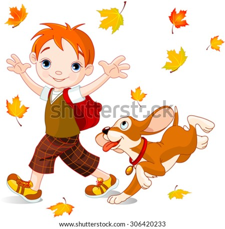 Cute boy with dog walks to school at autumn day - stock vector