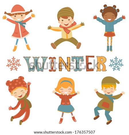 Cute collection of jumping winter kids - stock vector