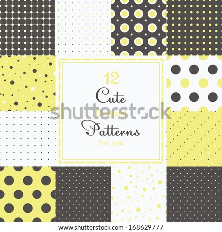 12 Cute different dotted vector seamless patterns (tiling). Polka dots set. Black, white and yellow color. Endless texture can be used for printing onto fabric and paper or scrap booking. - stock vector