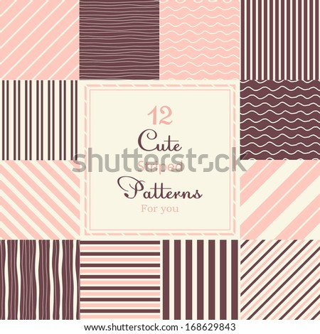 12 Cute different striped vector seamless patterns (tiling). Dark red, white and pink color. Pastel colors. Endless texture can be used for printing onto fabric and paper or scrap booking. - stock vector
