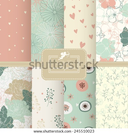 8 Cute different vector seamless patterns (tiling). Pink, red, beige, blue color. Endless texture can be used for printing onto fabric and paper or scrap booking. Heart, stripes, rhombus, chevron. - stock vector