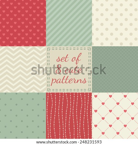 8 cute different vintage vector seamless patterns. Pink, red, beige and green color. Texture can be used for printing onto fabric, paper or scrap booking. Heart, stripes, rhombus, polka dots. - stock vector