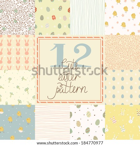 12 cute easter vector patterns (tiling). Endless texture can be used for printing onto fabric and paper or scrap booking.  Seamless pattern with chickens, rabbits, flowers, easter eggs for your design - stock vector