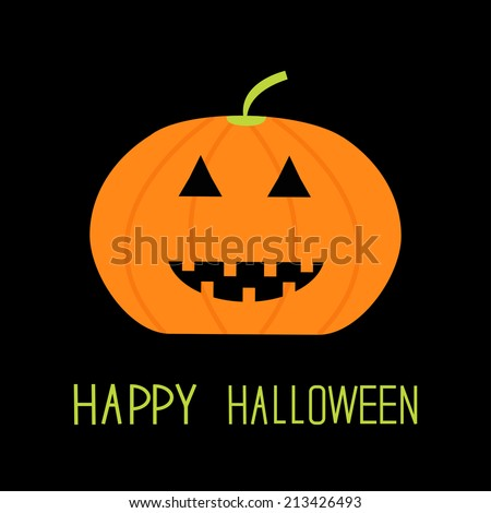 Cute funny pumpkin. Halloween card for kids. Flat design. Vector illustration - stock vector