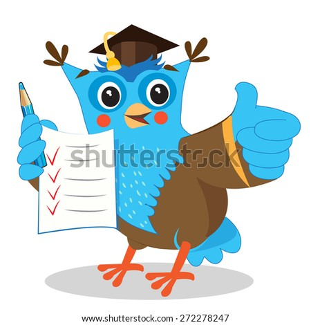 Cute owl  holding up his grades and giving a thumbs up sign gesture. Cartoon vector illustrations on a white background. - stock vector