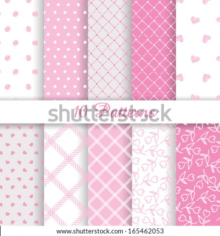 10 Cute  vector seamless patterns  - stock vector