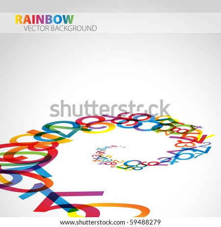 3D abstract background with colorful rainbow numbers - stock vector