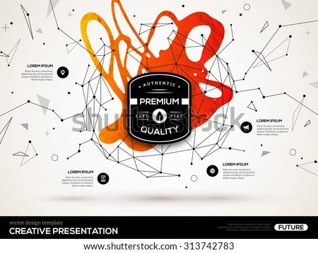 3D abstract background with red paint stain and low poly geometric shapes. Vector design layout for business presentations, flyers, posters. Scientific future technology background. Wireframe hud. - stock vector