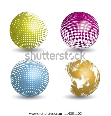 3d abstract global icons with shadow. vector illustration - stock vector