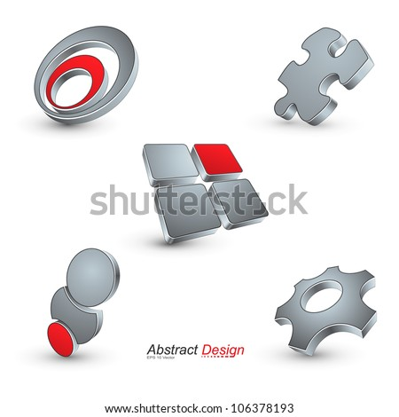 3D abstract icon design, vector illustration. - stock vector