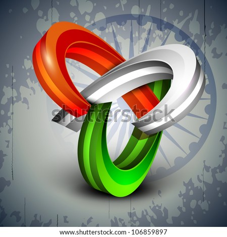 3D abstract Indian Flag icons on Asoka wheel background. EPS 10. - stock vector