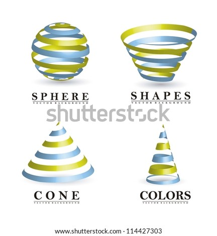 3d abstract shapes with shadow. vector illustration - stock vector