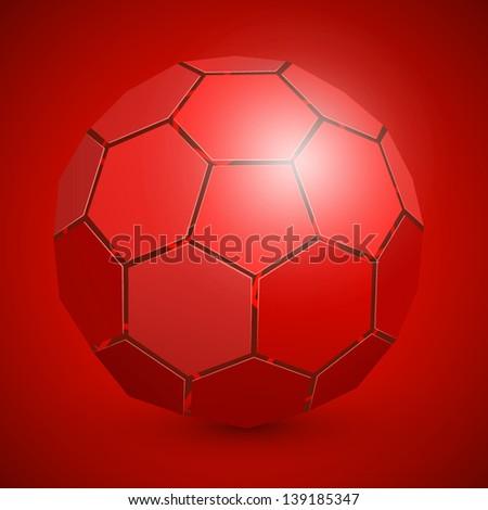 3d abstract soccer ball - stock vector