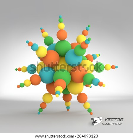 3d abstract spheres composition. Vector illustration. Can be used for presentations and design. - stock vector