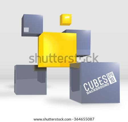 3d abstract vector digital cubes background. Realistic perspective elements design concept illustration - stock vector