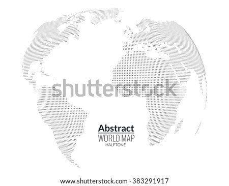 3d abstract world map planet, dots, global halftone concept. - stock vector