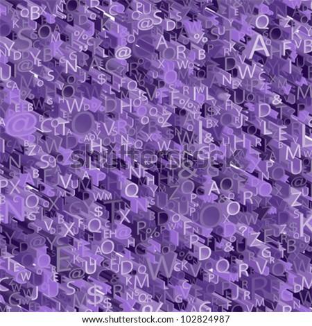 3D  Alphabet purple background, vector - stock vector