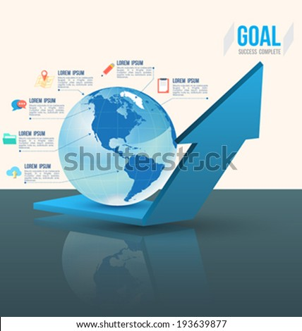 3D arrow up under world with flat icons. Can use for business concept. - stock vector