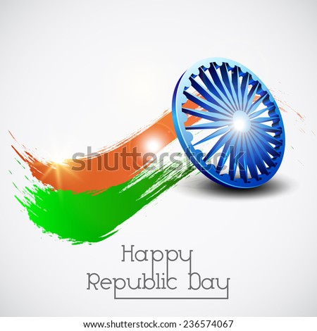 3D Ashoka Wheel with shiny paint stroke in saffron and green colors for Happy Indian Republic Day celebrations. - stock vector