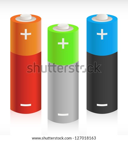 3D Batteries - Portable Energy Storage Concept Picture - stock vector