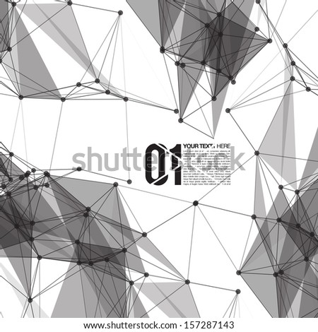 3D Black and White Abstract Mesh Background with Circles, Lines and Shapes | EPS10 Design Layout for Your Business - stock vector