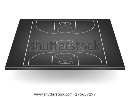 3d black basketball court. Vector EPS10 illustration.  - stock vector