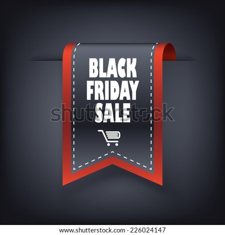 3d Black friday vertical ribbon bookmark elements for sales promotion. Eps10 vector illustration - stock vector
