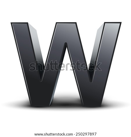 3d black letter W isolated on white background - stock vector