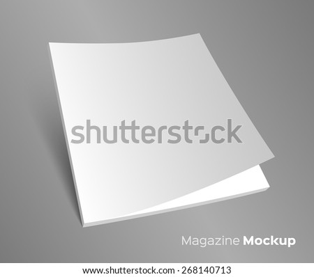 3D blank brochure cover. Realistic vector EPS10 illustration. Gray background. - stock vector