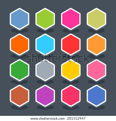 16 3d blank icon in flat style. Set 01 (hover variant). Colored smooth hexagon button with oval shadow on gray background. Vector illustration web internet design element saved in 8 eps - stock vector