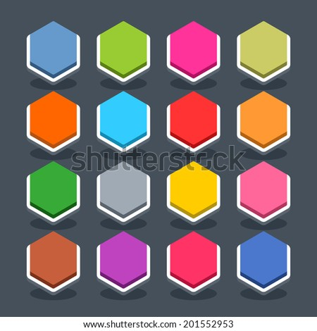 16 3d blank icon in flat style. Set 01 (inactive variant). Colored smooth hexagon button with oval shadow on gray background. Vector illustration web internet design element saved in 8 eps - stock vector