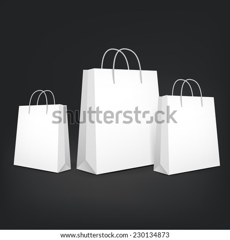 3d blank shopping bags isolated on black background - stock vector